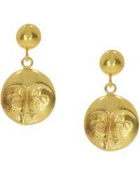 Ottoman Hands Moon Face Gold Drop Earrings - Metallic