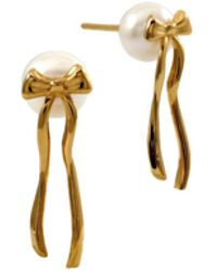 MARIE JUNE Jewelry - Present Pearl Gold Earrings And White Pearls - Lyst