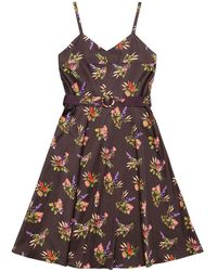 TOMCSANYI Baku Lame Flower Print Dress - Brown