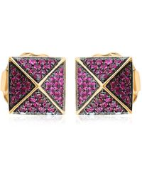 Artisan 18k Gold Spike Earring With Ruby - Metallic