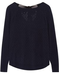 ILLE DE COCOS - Fantasy Bow Jumper Navy & Black - Lyst