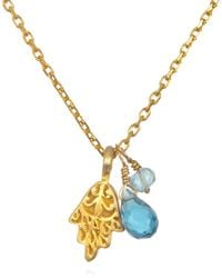 Satya Jewelry - Blue Topaz & Aquamarine Hamsa Necklace - Lyst