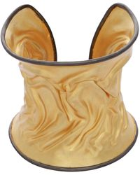 Carousel Jewels - Adjustable Crumpled Curved Gold Cuff - Lyst