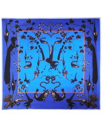 Klements Square Scarf In Rainbow Trout Print Blue