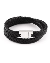Tissuville Double Wrap Black Silver Leather Bracelet Stark Bracelet
