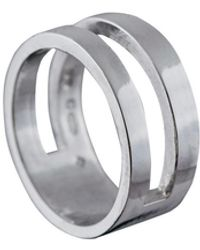 Edge Only Parallel Ring Silver - Metallic