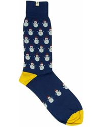 40 Colori - Dark Blue Snowman Organic Cotton Socks - Lyst