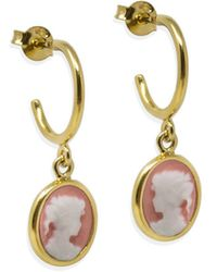 Vintouch Italy Gold-plated Pink Mini Cameo Hoop Earrings - Multicolor