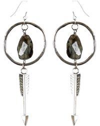 Tiana Jewel - Amira Hoop Arrow Labradorite Earrings Sari Collection - Lyst