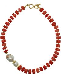 Farra - Natural Bamboo Corals With Studded Coral Baroque Pearl Necklace - Lyst