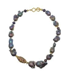 Farra Deep Purple Baroque Freshwater Pearls With Rhinestones Short Necklace - Multicolour