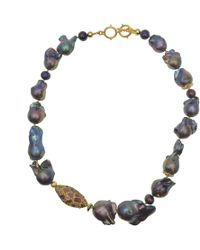 Farra Deep Purple Baroque Freshwater Pearls With Rhinestones Short Necklace - Multicolour