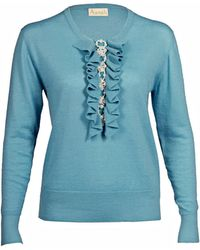 Asneh - Blue Cashmere Sweater With Pearl Embellishment - Lyst