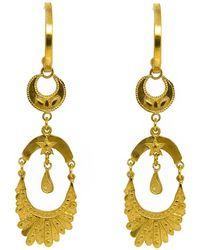 Annabelle Lucilla Jewellery Moon Empress Fan Chandelier Hoops - Metallic