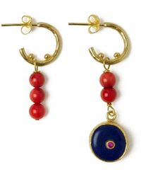 Ottoman Hands Amara Lapis & Red Coral Bead Drop Earrings - Multicolor