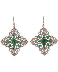 Kastur Jewels Emerald & Diamond Mughal Geometric Cocktail Earrings - Green