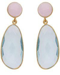 Carousel Jewels - Blue Topaz & Rose Quartz Symmetrical Double Drop Earrings - Lyst
