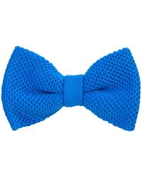 40 Colori - Turquoise Solid Silk Knitted Bow Tie - Lyst
