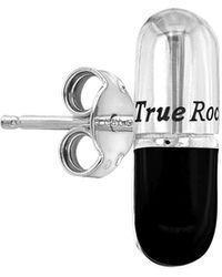 True Rocks Sterling Silver & Black Pill Stud Earring