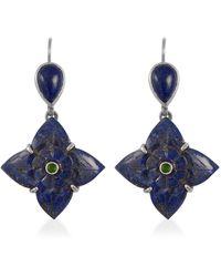 Emma Chapman Jewels Toyah Lapis Lazuli Tsavorite Earrings - Blue