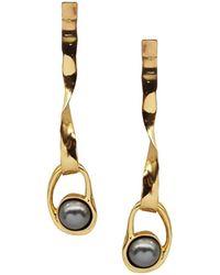 Coup de Coeur London Liquid Gold Black Pearl Drop Earrings - Metallic