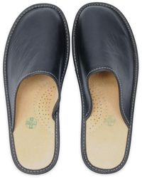 ONAIE Black Leather Slippers