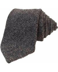 40 Colori Grey Herringbone Wool Tie