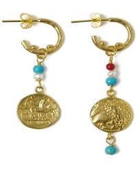 Ottoman Hands Bodega Beaded Hoop Earrings - Metallic