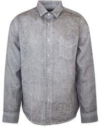 Haris Cotton Long Sleeved Front Pocket Linen Shirt - Grey