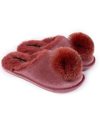 Pretty You London Coco Mule Slipper In Terracotta - Red