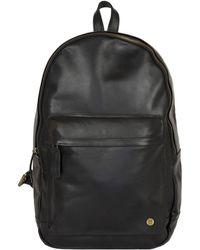 MAHI Leather Classic Backpack Rucksack In Black Leather
