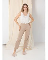 SALANIDA Knitted Trousers Beige - Brown
