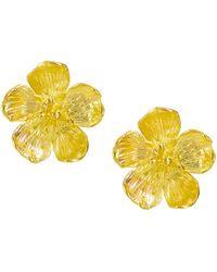 Ottoman Hands Buttercup Flower Stud Earrings - Metallic