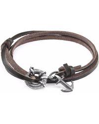Anchor & Crew - Dark Brown Clyde Silver & Leather Bracelet - Lyst