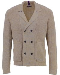 lords of harlech Christopher Cardigan In Xtrafine Greytan - Brown