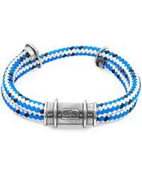 Anchor & Crew - Blue Dash Larne Silver & Rope Bracelet - Lyst