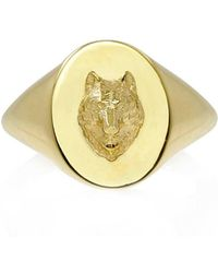 No 13 Wolf Signet Ring Solid Gold - Metallic