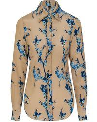 Sophie Cameron Davies Cherry Blossom Silk Shirt - Blue