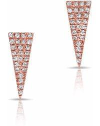 Anne Sisteron 14kt Rose Gold Diamond Mini Long Triangle Stud Earrings