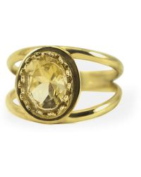 Vintouch Italy Dual Yellow Topaz Ring - Multicolor