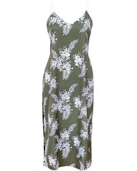 blonde gone rogue Floral Midi Slip Dress - Green