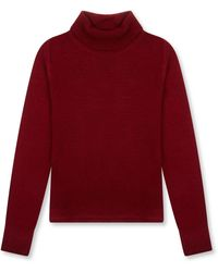 Burrows and Hare Women's Roll Neck Jumper - Red
