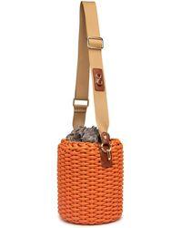 Thale Blanc Woven Basket Bag: Designer Vegan Bag In Orange