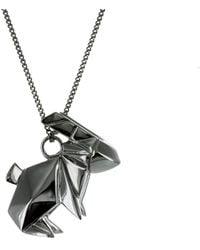 Origami Jewellery Necklace Rabbit Gun Metal - Black