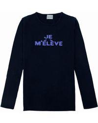 Orwell + Austen Cashmere - 'je M'élève Cashmere Sweater In Navy & Lilac - Lyst