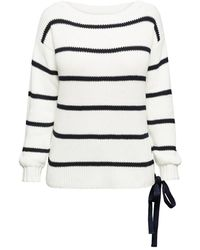 Rumour London Monaco Striped Cotton Jumper With Metal Eyelets In Cream - Multicolour