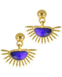 Ottoman Hands Sunrise Lapis Stud Earrings - Blue