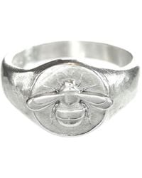 Lucy Flint Jewellery Bee Signet Ring Sterling Silver - Metallic
