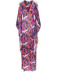 Jennifer Rothwell Silk Crane Print Kimono Dress - Purple