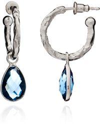 Azuni London - Alexa Gemstone Charm Earrings In Silver & Iolite - Lyst